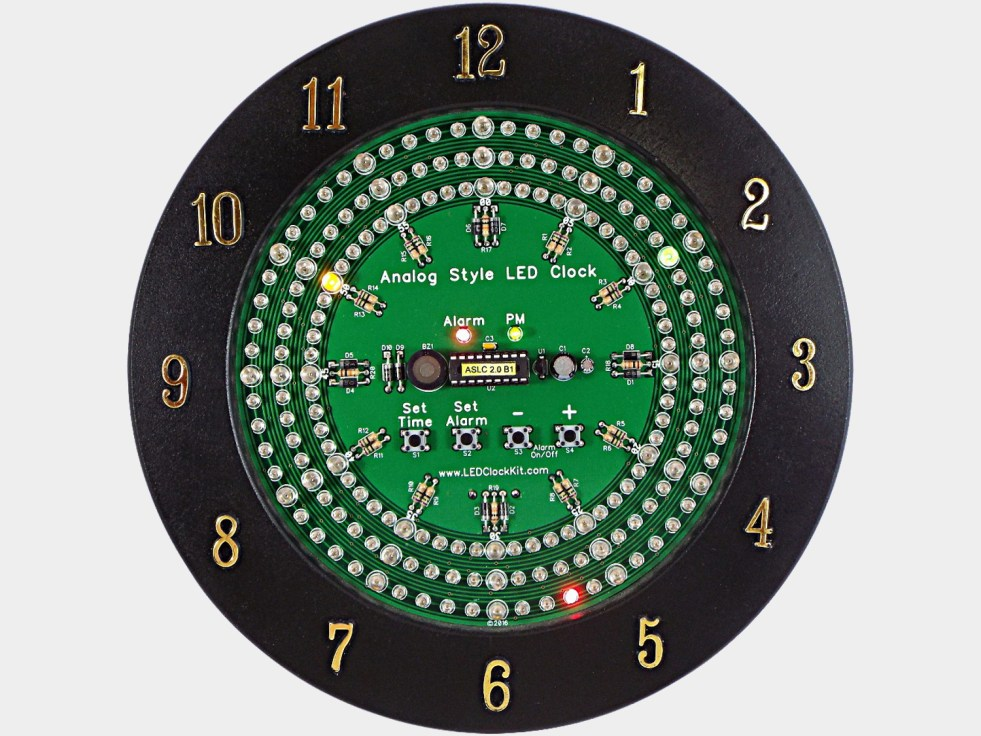 Analog Style Led Clock Kit Uses 180 Leds To Display The Time Electronic Circuit Board Diy