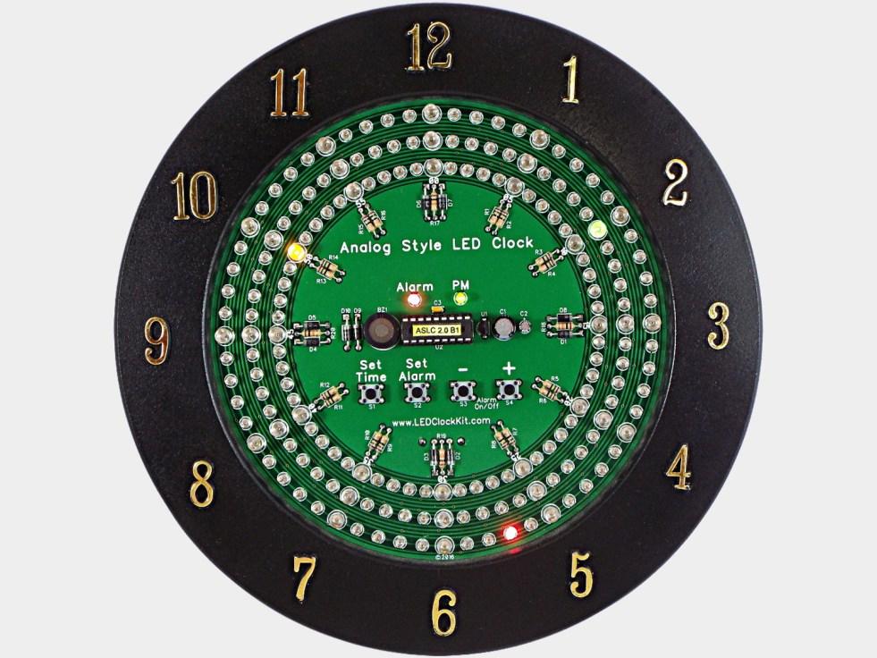 Analog Style Led Clock Kit Uses 180 Leds To Display The Time Ledclockcircuitboard2jpg
