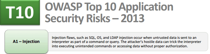 OWASP Top 10 - 2013 - Injection