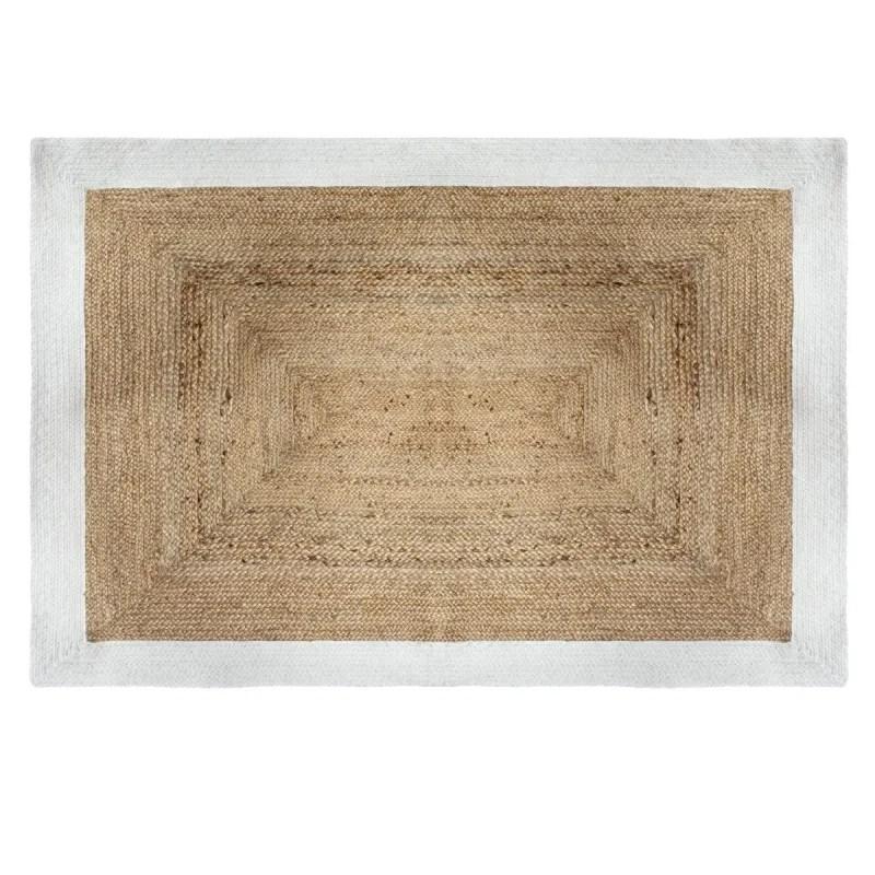 tapis jute naturel bord blanc 120x170 atmosphera