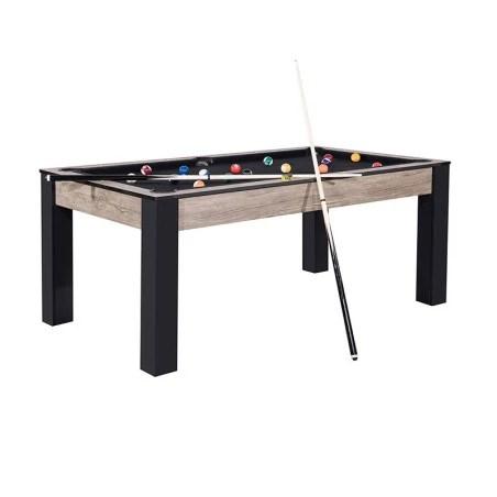 billard island 185 cm design industriel tapis noir convertible table salle manger