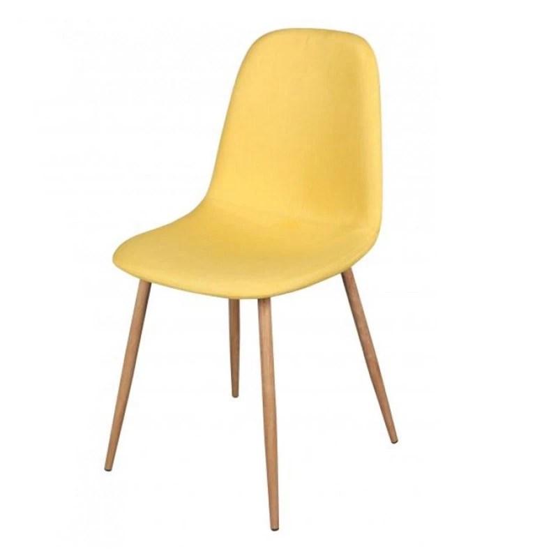 chaise scandinave oslo en tissu jaune