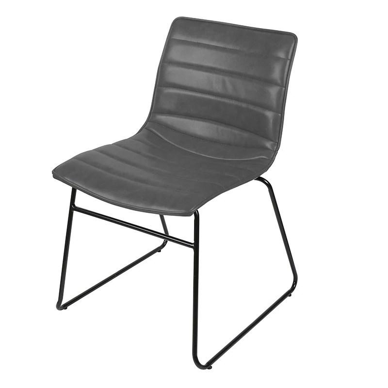 chaise simili cuir gris brooklyn