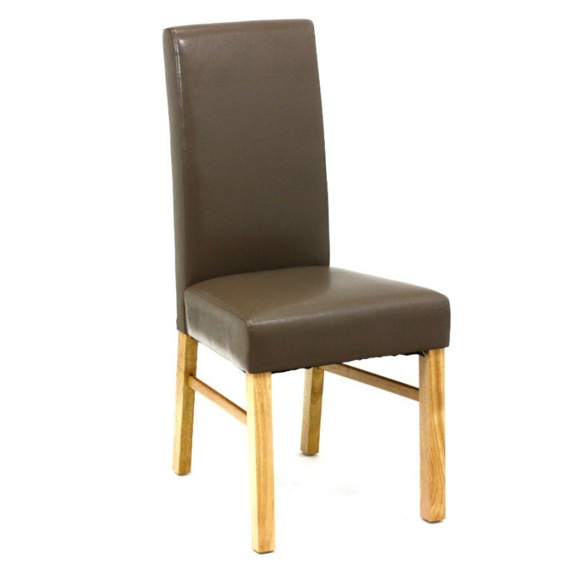 chaise simili cuir sego taupe