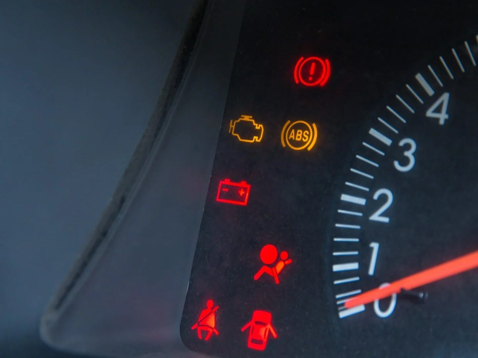 Screen Display Of Car Status Warning Light On Dashboard Panel Sy