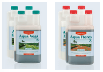 Image of the different bottles that make up the Aqua Vega and Aqua Flores nutrient solutions used for growing plants hydroponically in recirculating systems