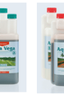 Image of the different bottles that make up the Aqua Vega nutrient solution used for growing plants hydroponically in recirculating systems