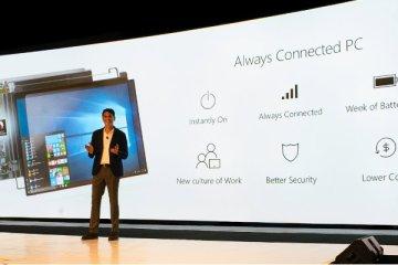 Présentation du PC toujours connecté et toujours allumé par Terry Myerson, vice-président du Windows and Devices Group de Microsoft, lors du Qualcomm SnapDragon Tech Summit