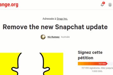 Pétition contre la mise à jour de Snapchat sur change.org