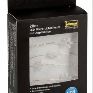 20er LED Micro-Lichterkette Schneeflocken