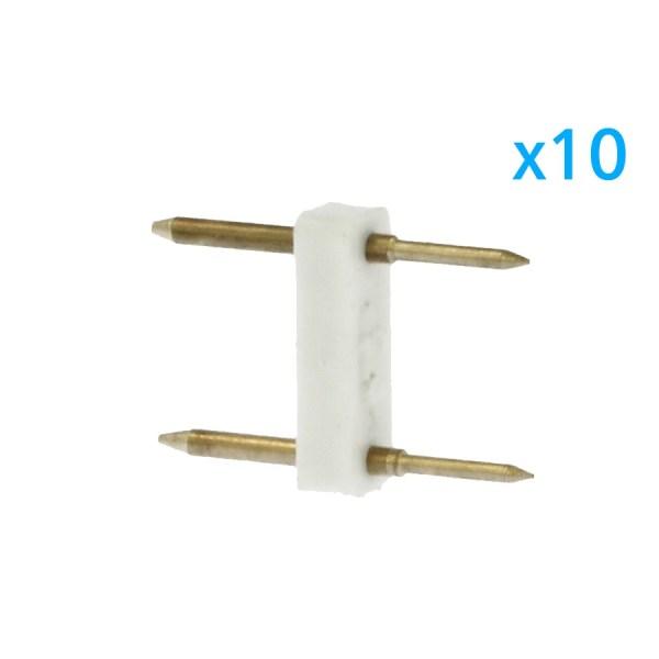 10 PZ Spina Da 2 Pin Passo 12mm Per Connessione Bobina Striscia Led Mono Colore Da 220V Con Alimentatore Trasformatore Raddrizzatore