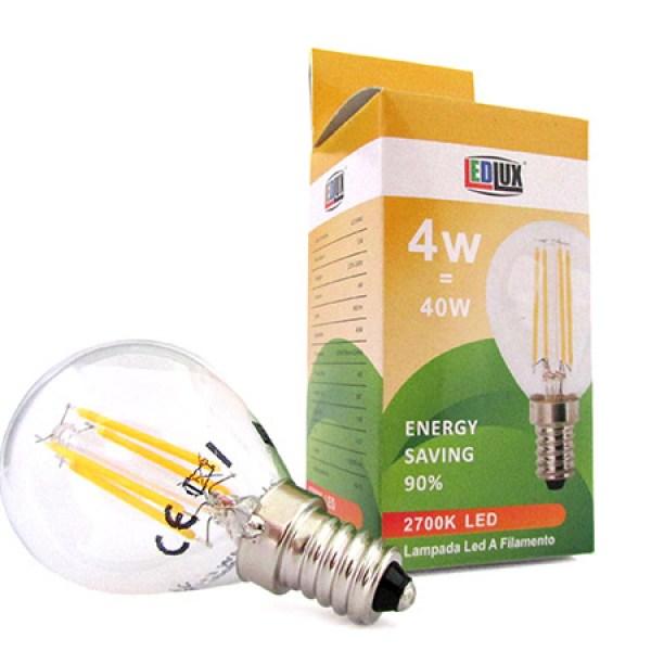Stock 4 Lampade Filo Led Con Filamento E14 G45 4W 360 Gradi Bianco Caldo 2700K Bulbo Globo Piccolo Sfera