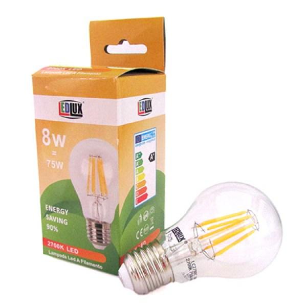 Stock 4 Lampade Filo Led Con Filamento E27 A60 8W 360 Gradi Bianco Caldo 2700K Bulbo Sfera Palla Goccia Come Lampade Tradizionali