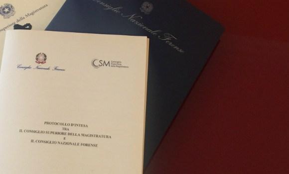 CSM e Consiglio Nazionale Forense, accordo siglato