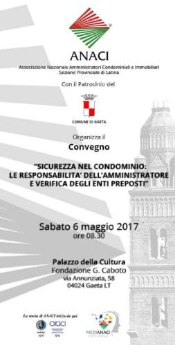 Anaci per Sicurezza nel Condominio e Responsabilità dell'Amministratore: convegno 6 maggio a Gaeta sulla 1
