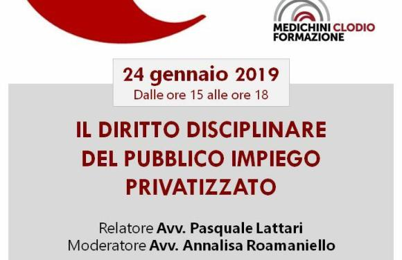 Pubblico Impiego – Il Compendio di Pasquale Lattari sul Disciplinare:  il  24 gennaio a Roma, libreria Medichini a P.le Clodio