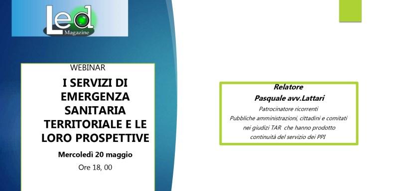 Dalla Videoconferenza Sanità di maggio, le slides illustrative della relazione Lattari