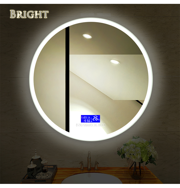 Round Frosted Edge Lighted Mirror China LED Bathroom