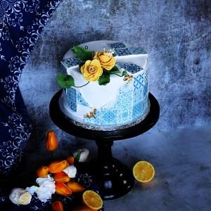 le doux fruit patisserie artisanale montpellier _ gateau azulejos portugal espagne bleu citron gateau anniversaire design theme