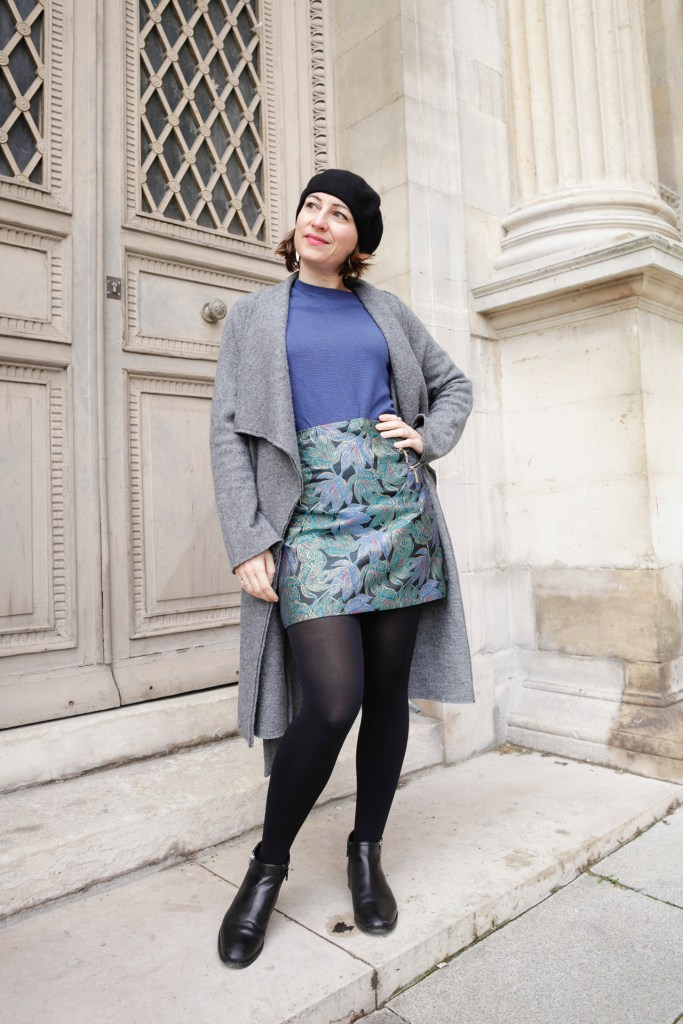 Pimkie, jupe jaquard, bleu, paris, blog, mode, bloggueuse, manteau long, béret, bottines