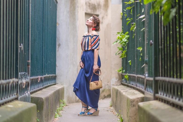 jupe rayée rayures etam mango paris parisienne blog bogueuse mode sac osier sandales compensée