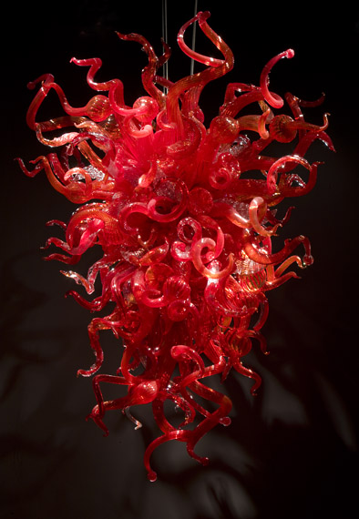 Enthusiasm Red Modern Decorative Mouth N Art Glass Chandelier