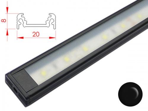 reglette led plate 20x8mm couleur noire alimentation 12v