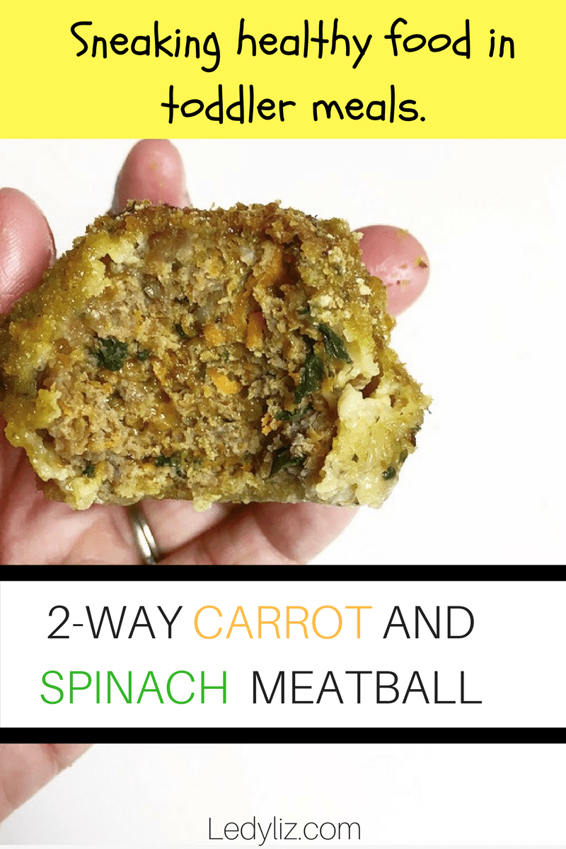 2 -Way Carrot and Spinach Meatball:  Healthy toddler meal.
