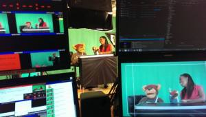 This was my studio director view. Chanelle is with Bostin Bear in the middle, and those are my control screens either side.