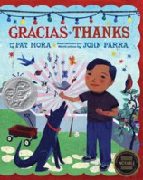 Gracias Thanks by Par Mora illustrated by John Parra a Latino boy and his dog stand on a grassy lawn