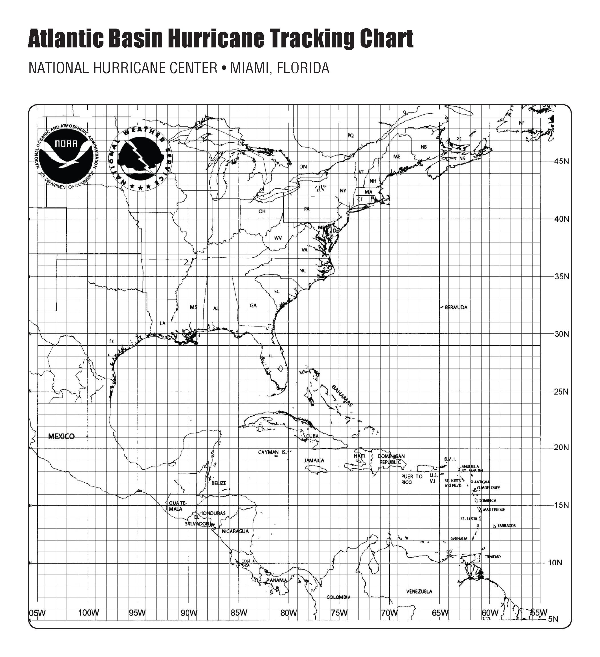 Atlantic Basin Hurricane Tracking Chart