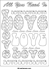 Hippie Designs LOVE Coloring Poster