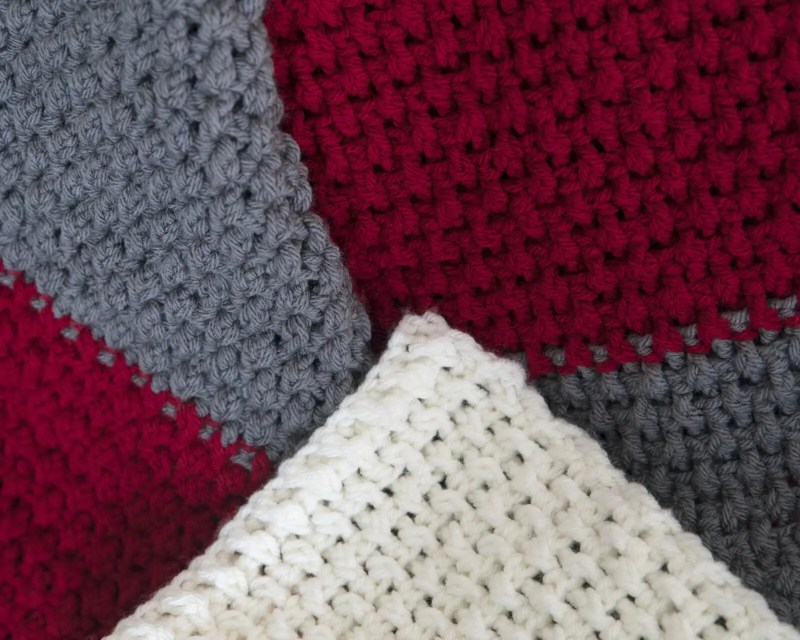 Color Block Throw Free Crochet Blanket Pattern Leelee Knits