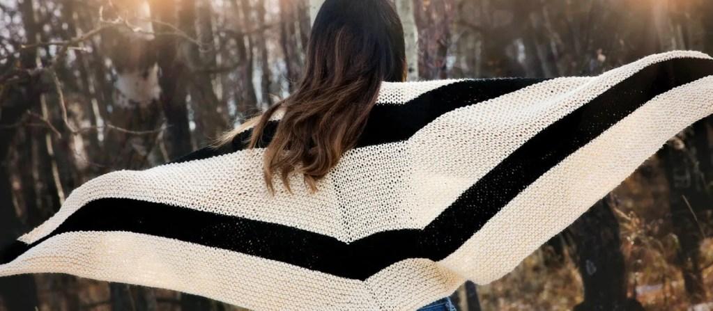 Beginner Knit Shawl Pattern Wide View
