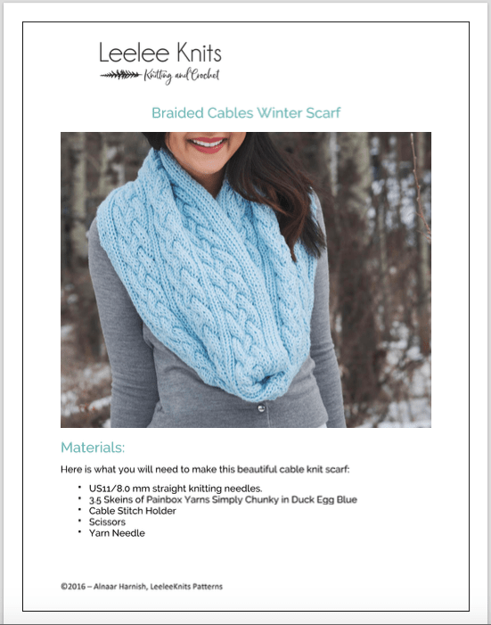 Braided Cables Scarf Pdf Download Leelee Knits