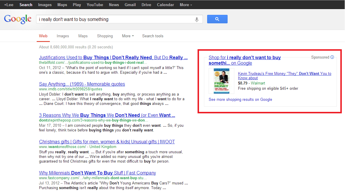 Did you not read what I wrote, Google?