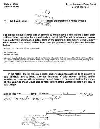 Cops has a search warrant