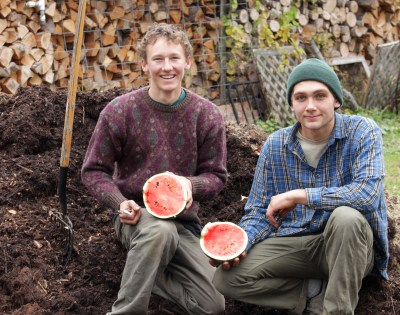 Ben & Jeremy show off the November watermelon.
