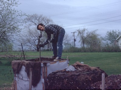 Aerating my compost pile of yore