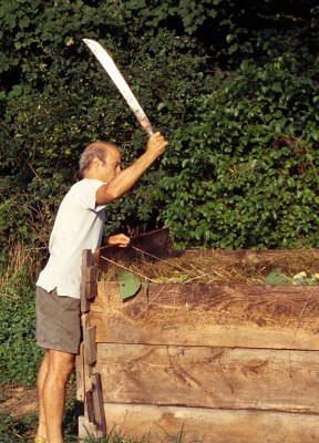 Chopping compost with machete
