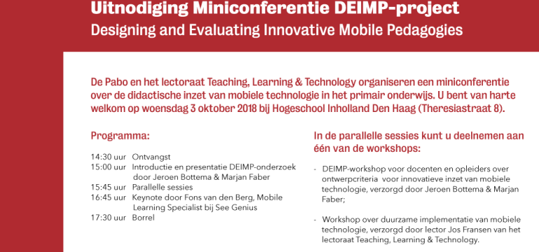 Miniconferentie DEIMP-project: Developing & Evaluating Innovative Mobile Pedagogies