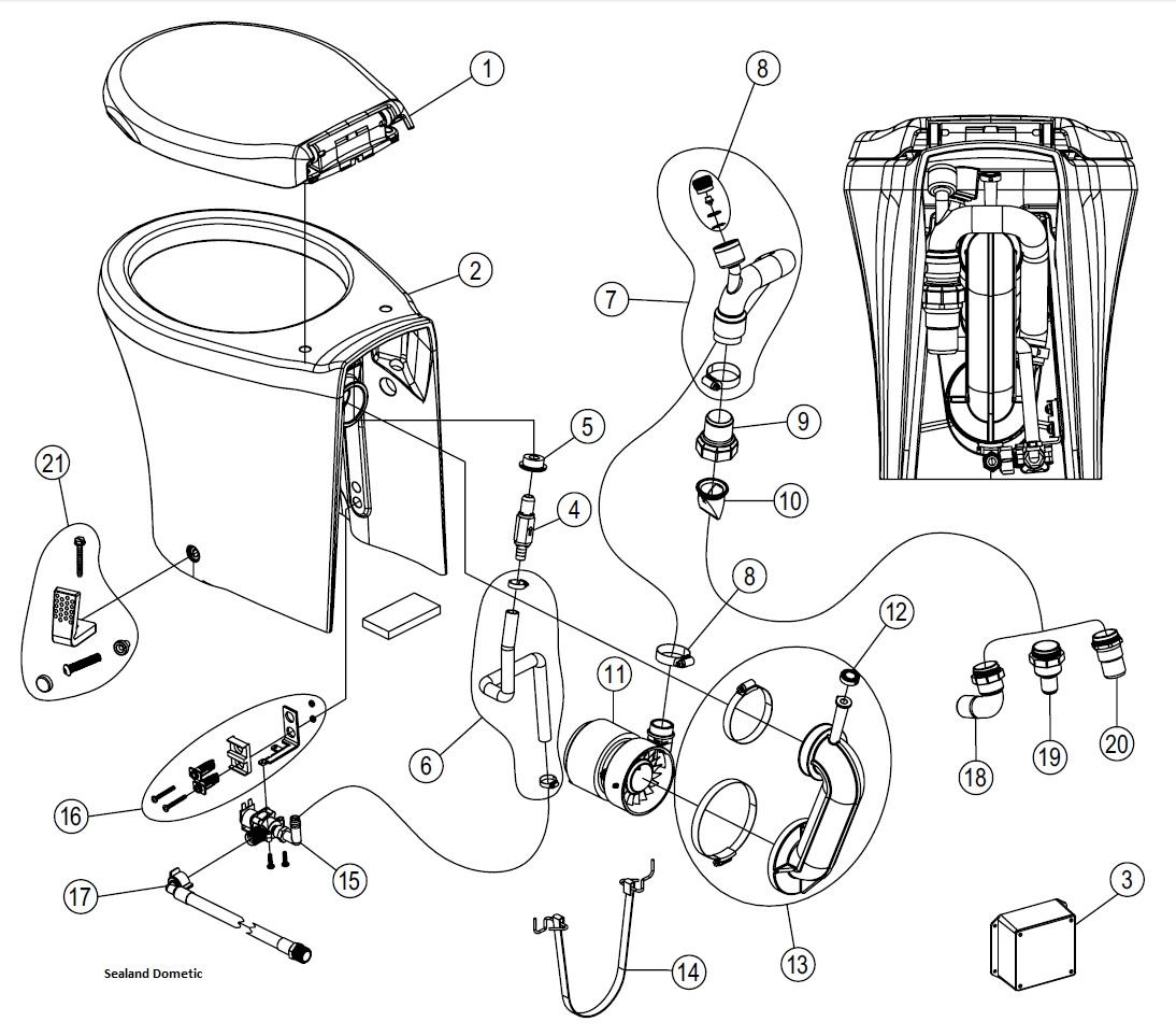 Sealand Dometic Masterflush Tall Spare Parts