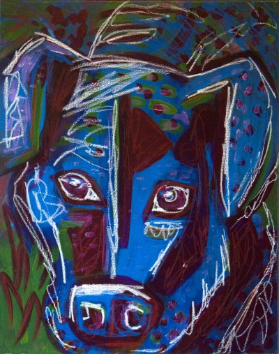 portrait of a mastiff/lab mix in blue, purple, green and white using mixed media.