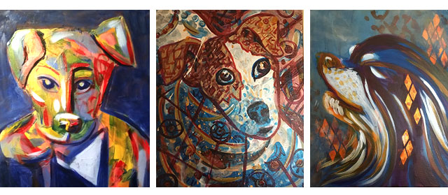 three paintings featured in cherokee arts center including mischief, a colorful lab puppy, jack a jack russell, and shelby a wire haired dashund mix