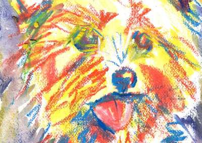 Abstract Yorkie Terrier Dog Portrait in Watercolor and Ink
