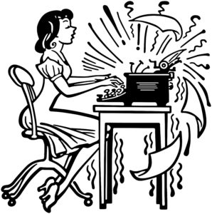 Woman Typing Madly