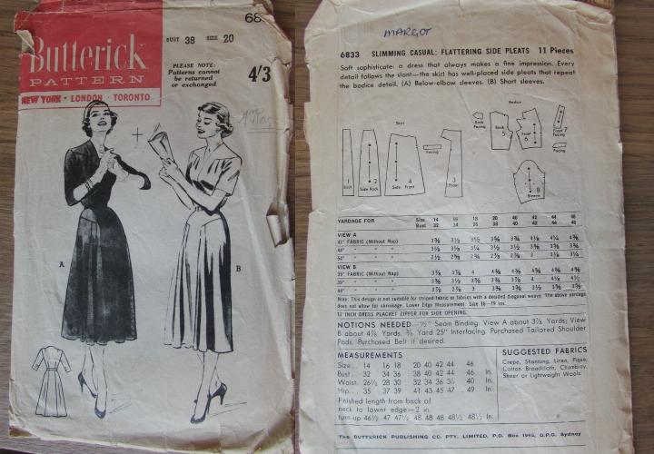 LeesVoer Vintage Patronen Butterick 6833 50s