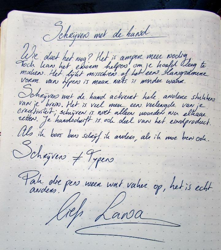 schrijven met de hand, met de hand geschreven