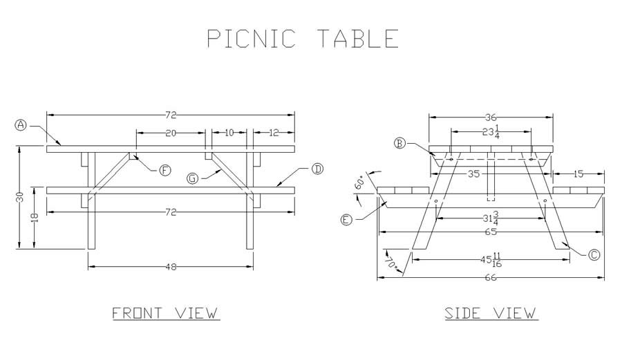 wood plans for picnic table