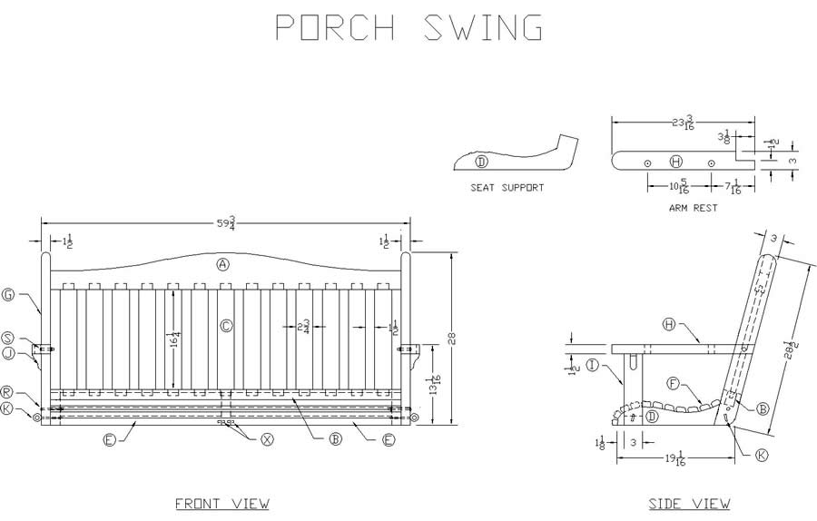 Pdf plans porch swing designs free download wood pen kits for Outdoor swing plans